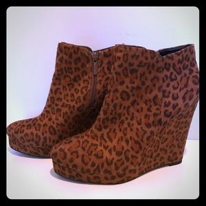Cheetah print wedge booties
